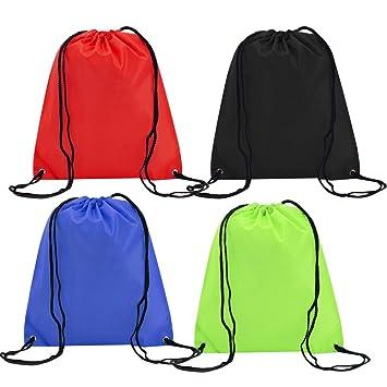 4 Pack Mochila Saco Bolsa Nylon de Cuerdas, EASEHOME Saco de Deporte Bolso de Gimnasio de Viaje Bolsa para Zapatos Ropa Juguetes Bolsas Infantil ...