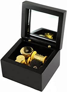Wind-Up Wooden Music Box with Gold-Plating Movement in,Swan Lake,Black