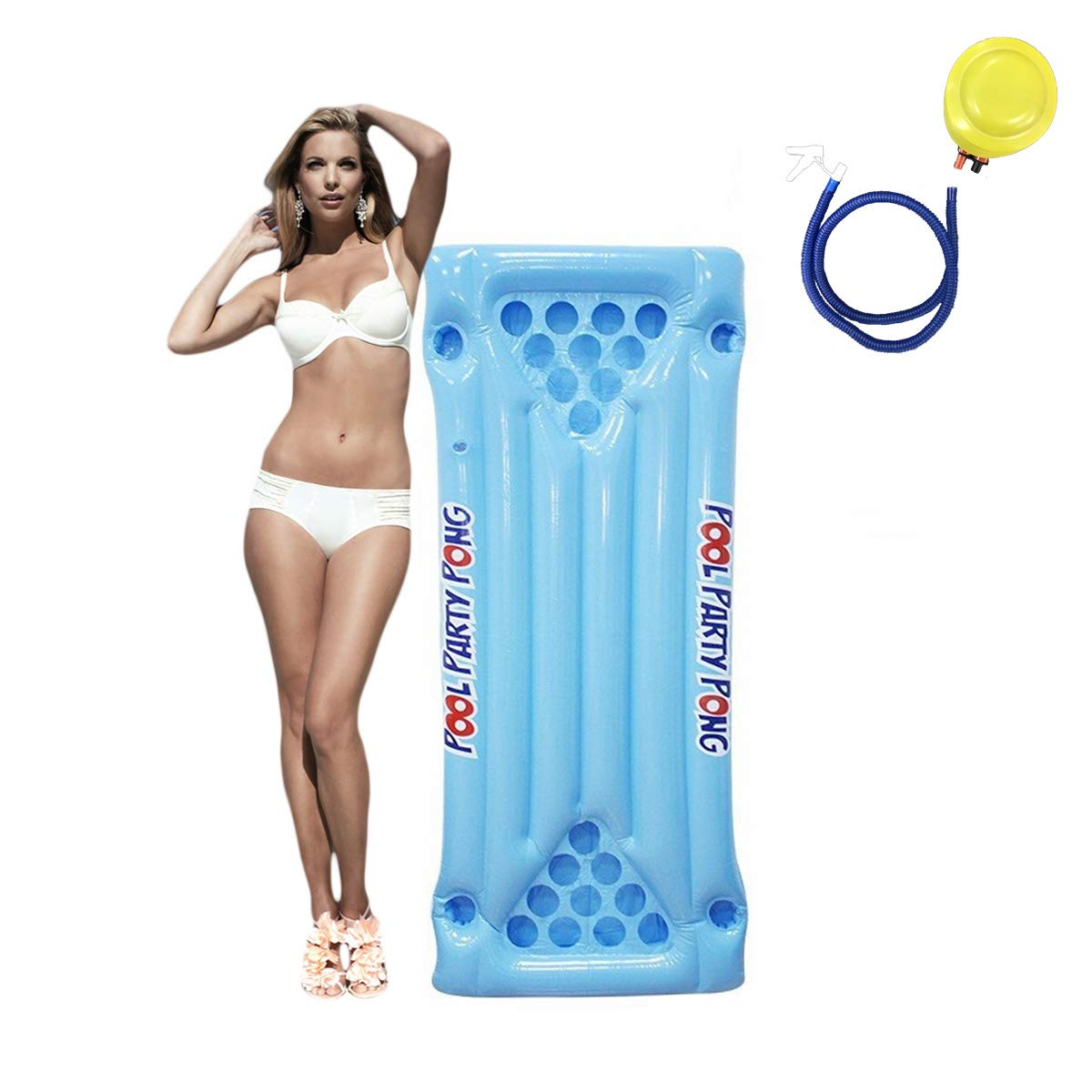 Flytool Beer Pong Table Float for Pool Party Game Supplies Inflatable Raft Lounger, Blue, One Size