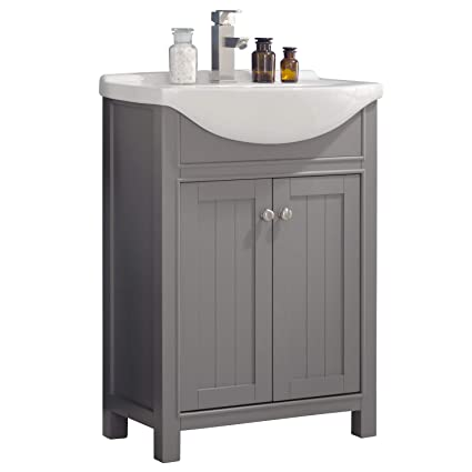 Luca Kitchen Bath Lc24hgp Carson 24 Bathroom Vanity Set In French Gray Made With Hardwood And Integrated Porcelain Top