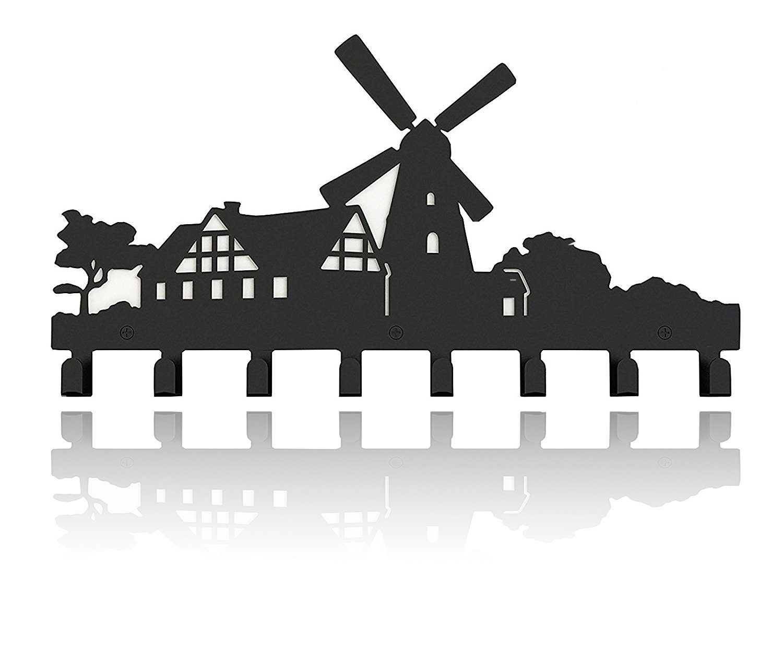 Zonman Classical Metal Windmill Wall Mounted Bag Hanger Towels Coat Rack Clothing Hooks Black