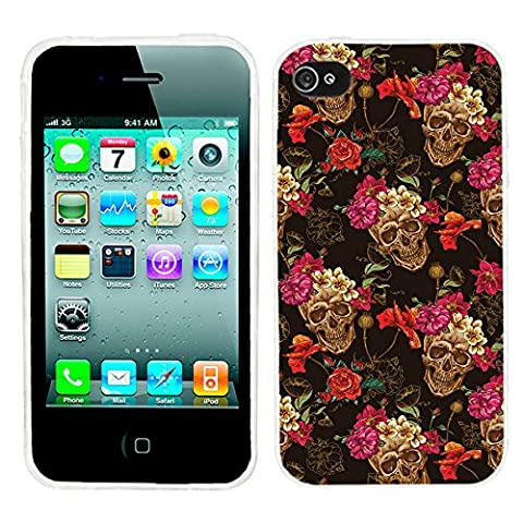 iPhone 4s Case Cute,iPhone 4 Case for Girls, ChiChiC full Protective unique Stylish Case slim durable Soft TPU Cases Cover for iPhone 4 4g 4s,vintage retro gold skull with pink yellow (Iphone 4 Case Artsy)