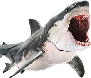 PNSO Megalodon Shark Prehistoric Sea Ocean Animal PVC Action Models Educational Painted Figure Figurine Ancient Sea Monster Toys for Adults Original Gift Box