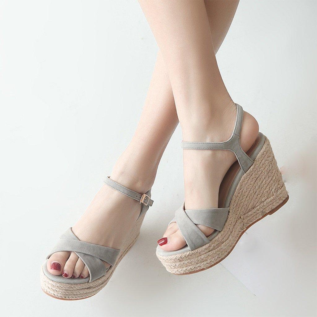 3eaed951 SANDALIAS de cuña Gris de Verano - Plataforma de Mujer más Popular Tacones  Altos Zapatos de Novia Peep-Toe cómodos (Altura de 3.9 Pulgadas) (Color :  Gris, ...