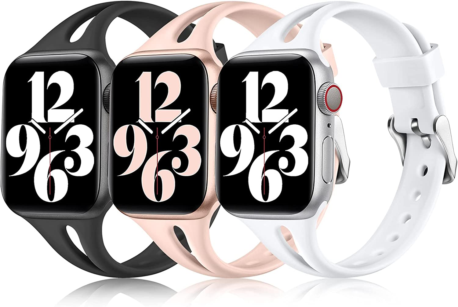 Laffav Compatible With Apple Watch Band 40mm 38mm for Women Girls, Slim Soft Silicone Sport Replacement Wristband for iWatch SE & Series 6 & Series 5 4 3 2 1, Black/White/Pink Sand 38mm/40mm S/M
