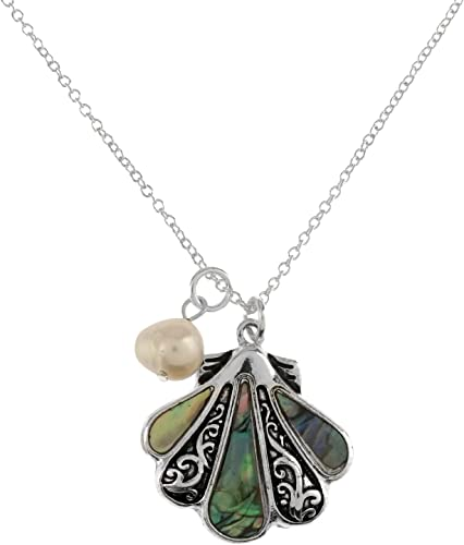 Starfish Necklace Pendant Charm Snake Chain SeaLife ABALONE SHELL SILVER Jewelry