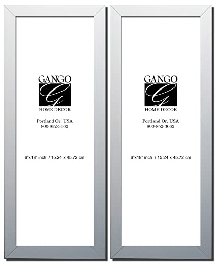 Amazon.com - Gango Home Décor Two 6x18in White Frame Rectangular Set ...
