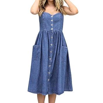 Kleid damen Kolylong® Frauen Elegant Ärmelloses Jeans Kleid Knielang Retro  Denim Kleid mit Tasche Lässig b9772c4b86