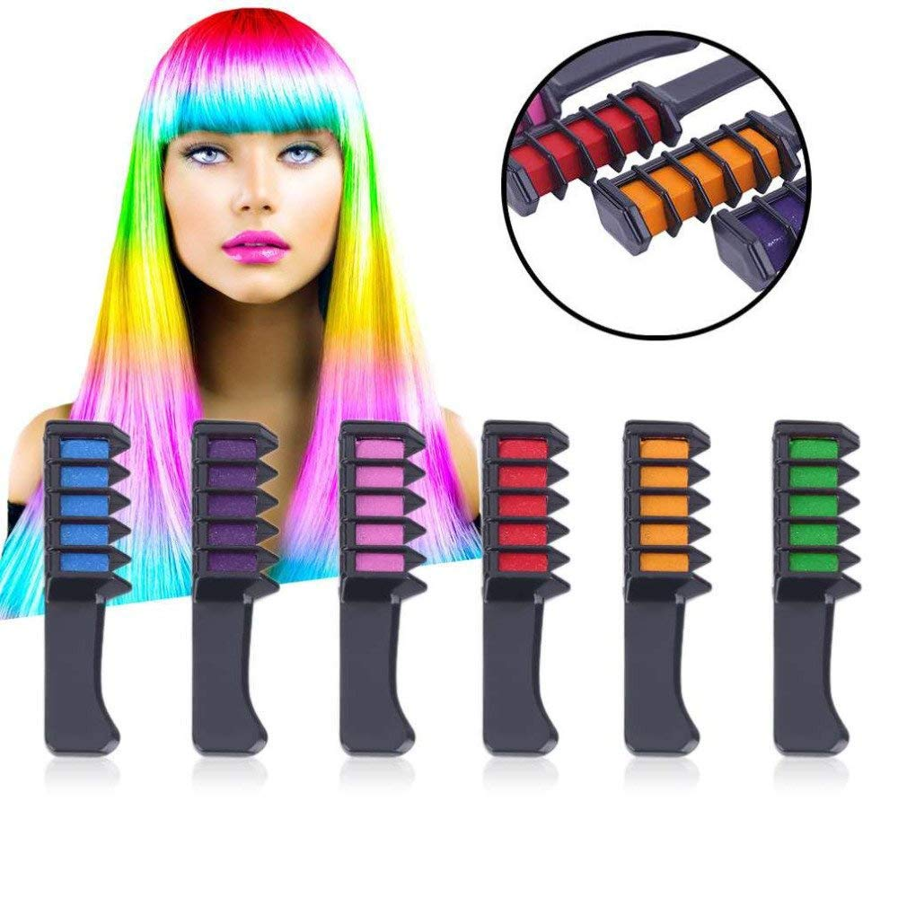 Kalolary Newly Updated Temporary Bright Hair Chalk Set 6 Colors Hair Chalk With Brush -Hair Chalk Comb for Girls, Party, Cosplay- Include Free Rubber Bands,Sealed Bags, Diaposable Cape&Glove