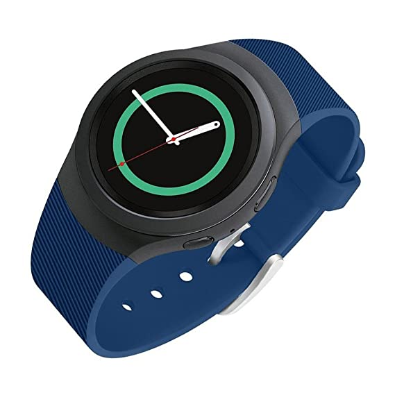 Lakvom Silicone Sport Style Watch Band for Samsung Gear S2 - Blue Twill