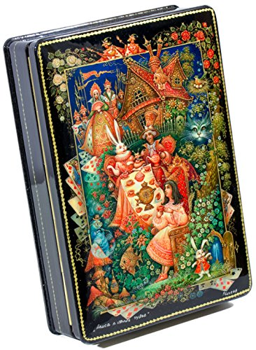 craftsfromrussia Russian Lacquer Miniature - Jewelry Trinket Box -Alice in Wonderland (Fairy-Tale) - Big Size - Hand Painted in Russia (Big, Style F)