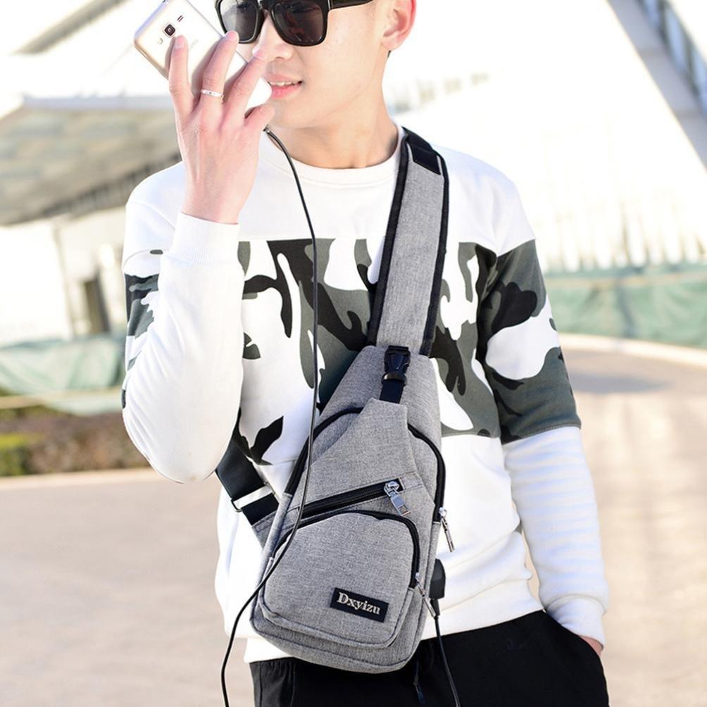 USB Outdoor Sports Casual Canvas Unbalance Backpack Crossbody Sling Shoulder Bag