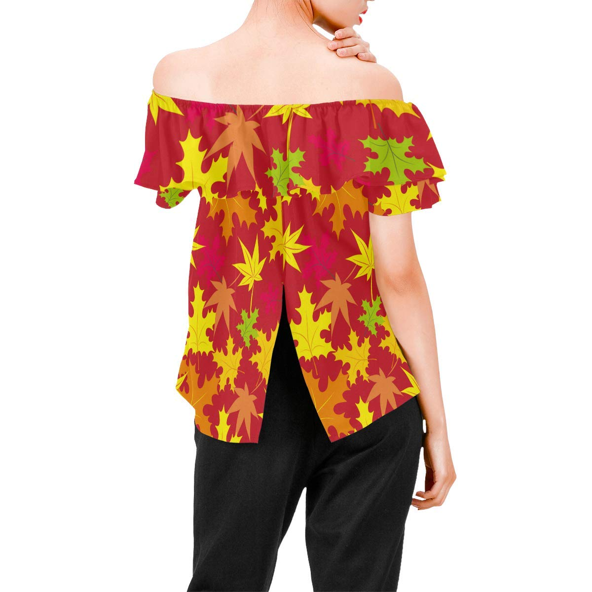 Vintage Floral Womens A-Line Chiffon Blouse Shirt Tops