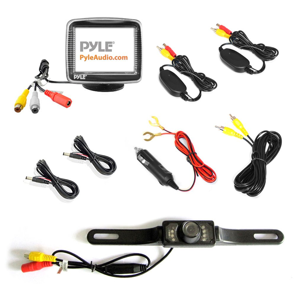 Pyle Wireless Backup Car Camera Rearview Monitor System Plcm7700 Wiring Diagram Parking Reverse Safety Distance Scale Lines Waterproof Night Vision Cam
