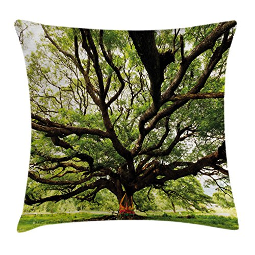 Family Tree Throw (Nature Throw Pillow Cushion Cover by Ambesonne, The Largest Monkey Pod Tree in Thailand Eastern Green Big Branches Growth Eco Photo, Decorative Square Accent Pillow Case, 18 X 18 Inches, Green Brown)