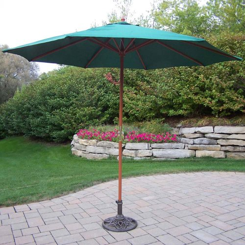 Oakland Living Market Umbrella with Crank, 9-Feet, Green