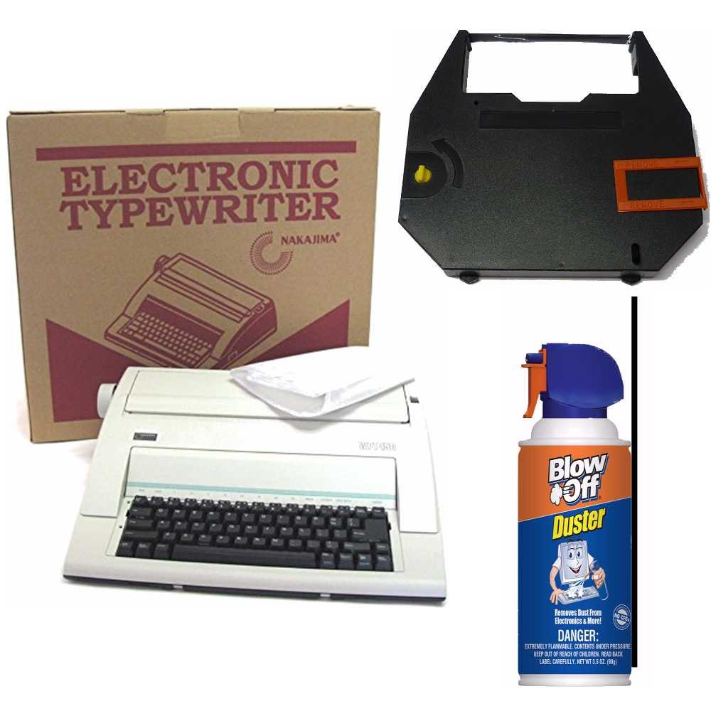 Nakajima Electronic Typewriter WPT-150 with Correct Film Ribbon and Blow Off Air Duster Bundle by Nakajima