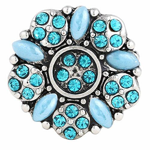 ® morella click-button bouton pression pour bijou femme avec fleur en pierres de zircone turquoise