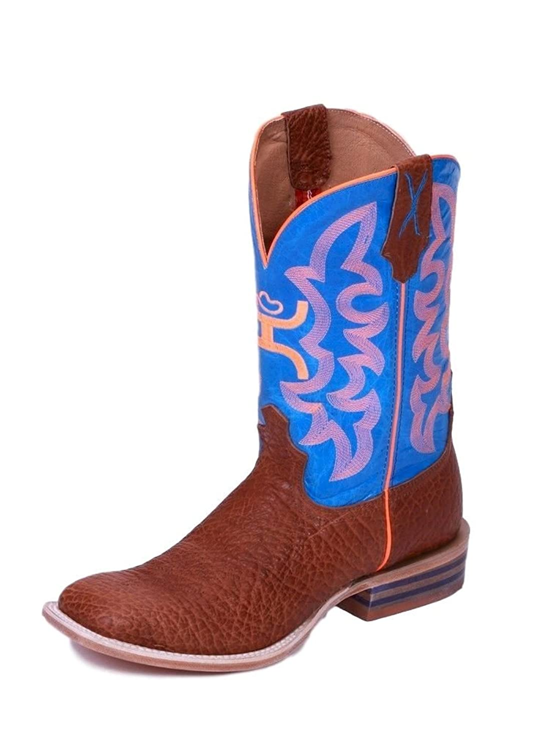 Twisted X Mens Neon Blue Bullhide Square Toe Hooey Cowboy Boots 13EE