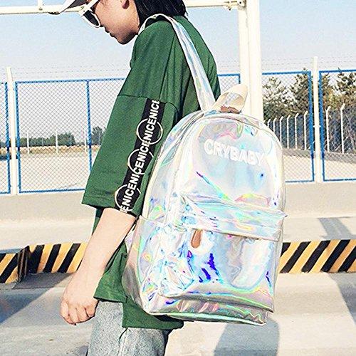 Silver Schoolbag Street Men Girl Boy Backpack Widewing Hologram Shoulder Preppy Women gqyvwwRS