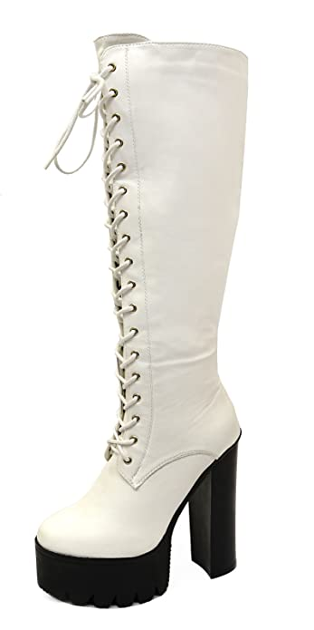 0ea2d6744924a Ladies White Knee High Zip-Up Chunky Exotic Platform Tall Boots Shoes Sizes  4-9  Amazon.co.uk  Shoes   Bags