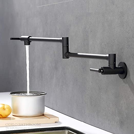 Homili Foldable Wall-Mount Retractable Pot Filler Kitchen Faucet Cold Only  with Dual Swing Joints (Black)