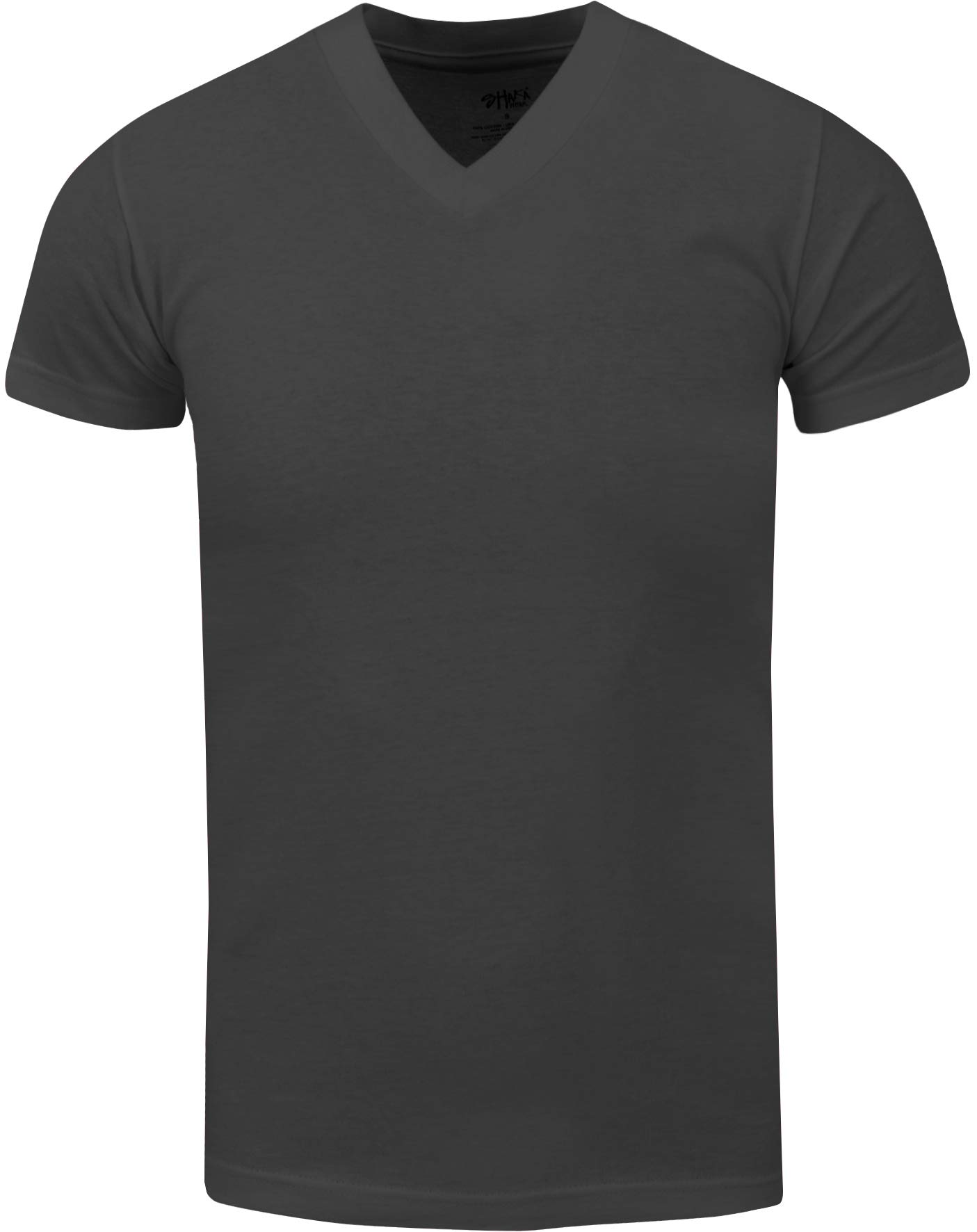 VNS22_ Active Mens Premium Cotton Heavy Weight V Neck Basic T Shirt D.Grey