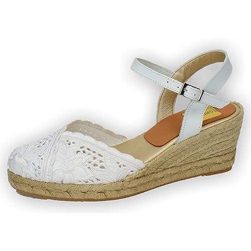 TORRES 5004 Zapatillas DE Encaje Mujer Alpargatas Blanco 35: Amazon.es: Zapatos y complementos