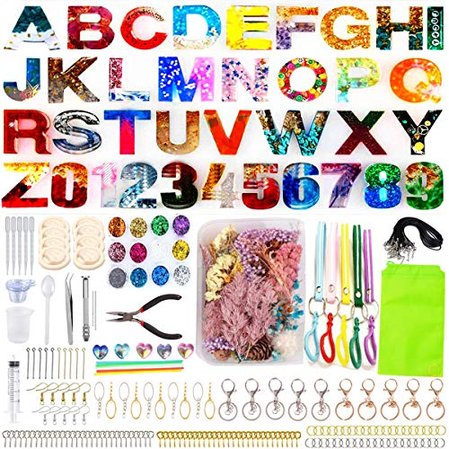 Alphabet Resin Silicone Casting Molds Kits DIY Molds Set with Letter Number Resin Molds, Tools, Metal Accessories and Dried Pressed Flowers for DIY Keychains and Epoxy Resin Crafts