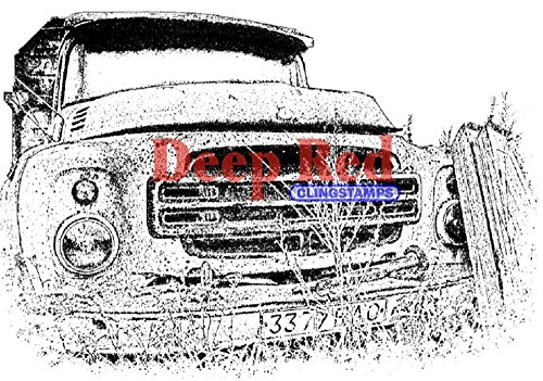Deep Red Stamps Rusty Truck Rubber Stamp