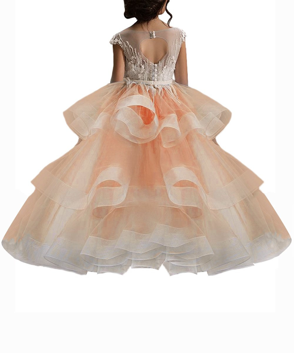 WDE Long Peach Little Girls Pageant Dresses for Wedding Kids First Communion Prom Ball Gown US8