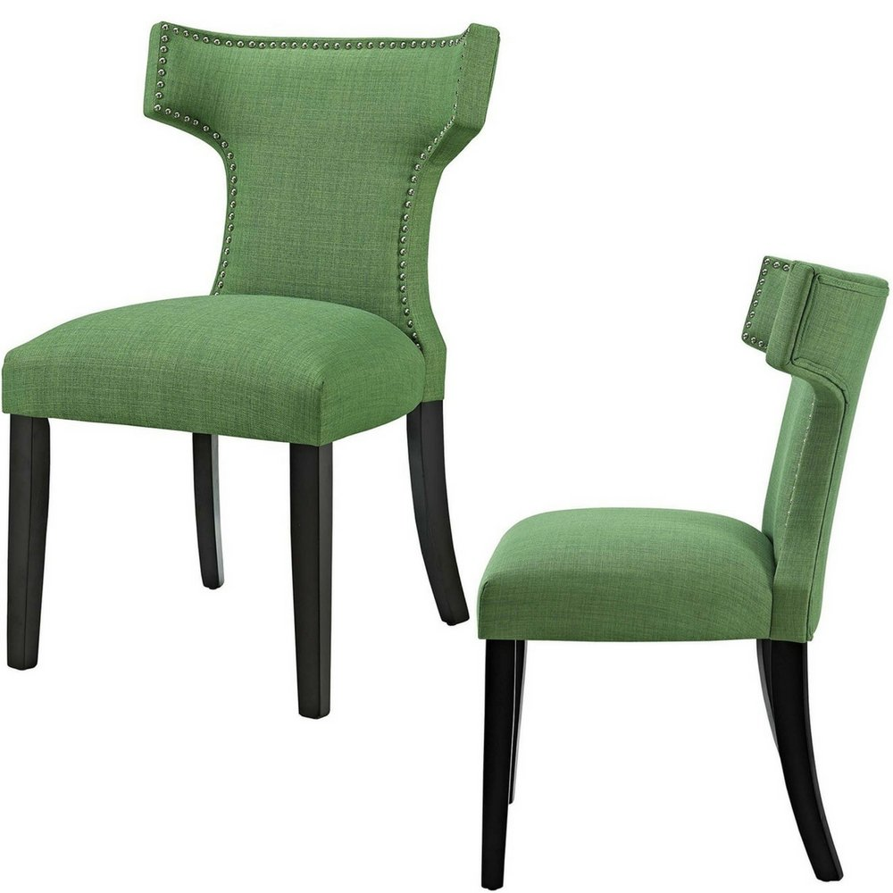 Upholstered dining chairs wingback mid century with nailheads armless green fabric curve accent chair contemporary side chair sturdy living room backrest