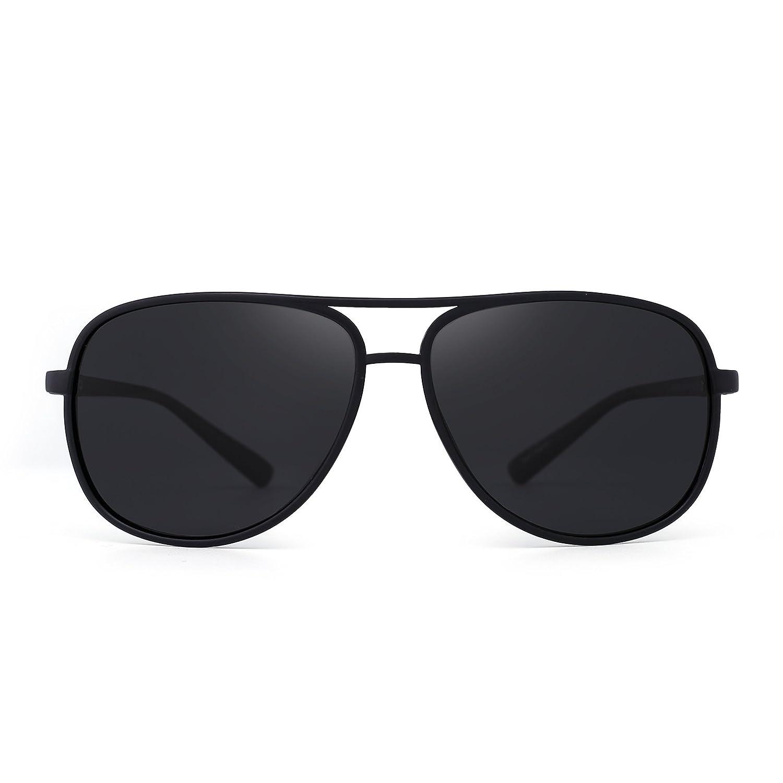 JM Gafas de Sol Retro Polarizadas Aviador de Espejo Peso Ligero Anteojos Para Hombre Mujer(Negro Mate/Gris Polarizado)