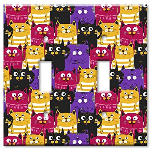 Art Plates 2 Gang Toggle Wall Plate - Black, Purple and Orange Cat Toss