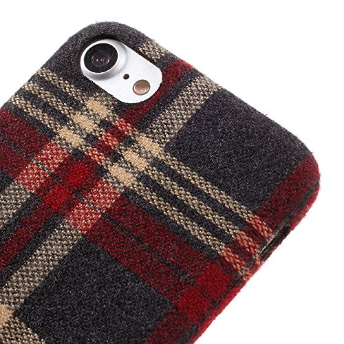 Lattice Pattern Cloth Coated PC Hard Tasche Hüllen Schutzhülle Case für iPhone 7 4.7 Inch - Rot