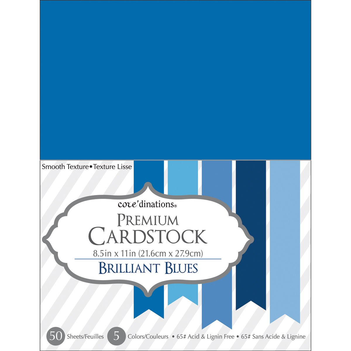 Core'dinations Smooth Cardstock 8.5 X11 Inches Brilliant Blue Assortment (8 Pack)