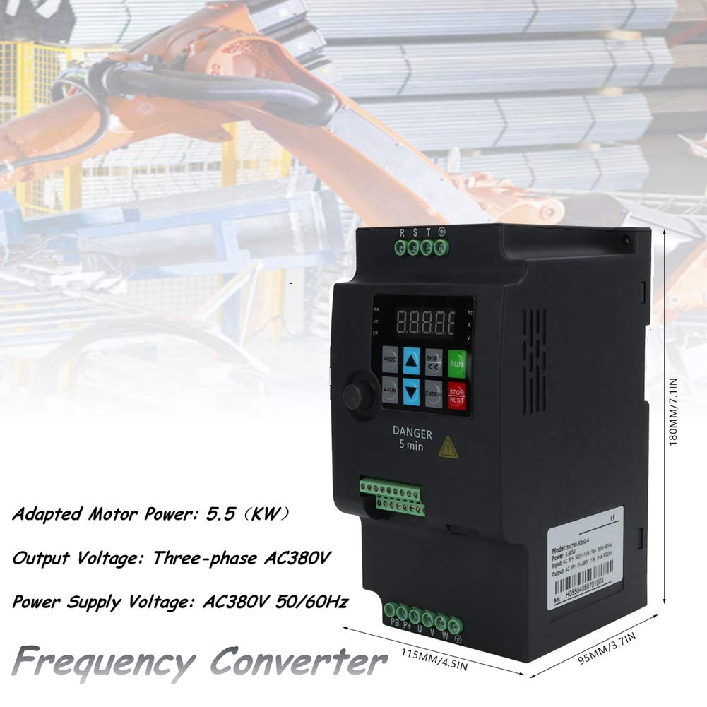 Frequency converter VFD, Frequency Converter 5.5kw 380V 3-phase input and output universal motor VFD frequency converter inverter VFD speed controller