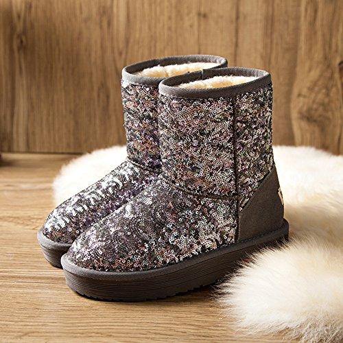 Boot Women's and Boots Paillette New Gray Mid BERTERI Calf Warm Antiskid Winter Snow SqwCWPd