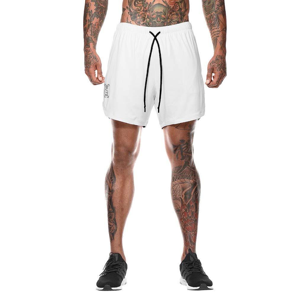 Men's Fitness Shorts,Clearance-Summer Fashion Causal Elastic Waist Sport Running Drawstring Solid Beach Pants