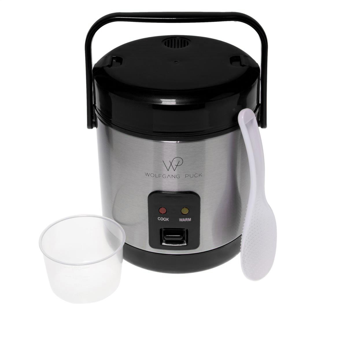 Wolfgang Puck Stainless Steel 1.5-Cup Rice Cooker with Recipes - Black