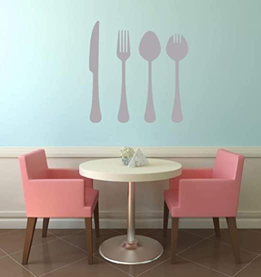 Dinner Kitchen Quote Cutlery Fork Wall Stickers Art Dining Room Removable Decals