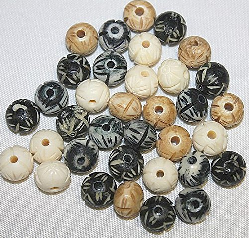 (Jamsons Beads - 12mm - 36 Pieces Per Pack - Hand Crafted & Hand Carved Bone Beads - Assorted 3 to 4 Colors)