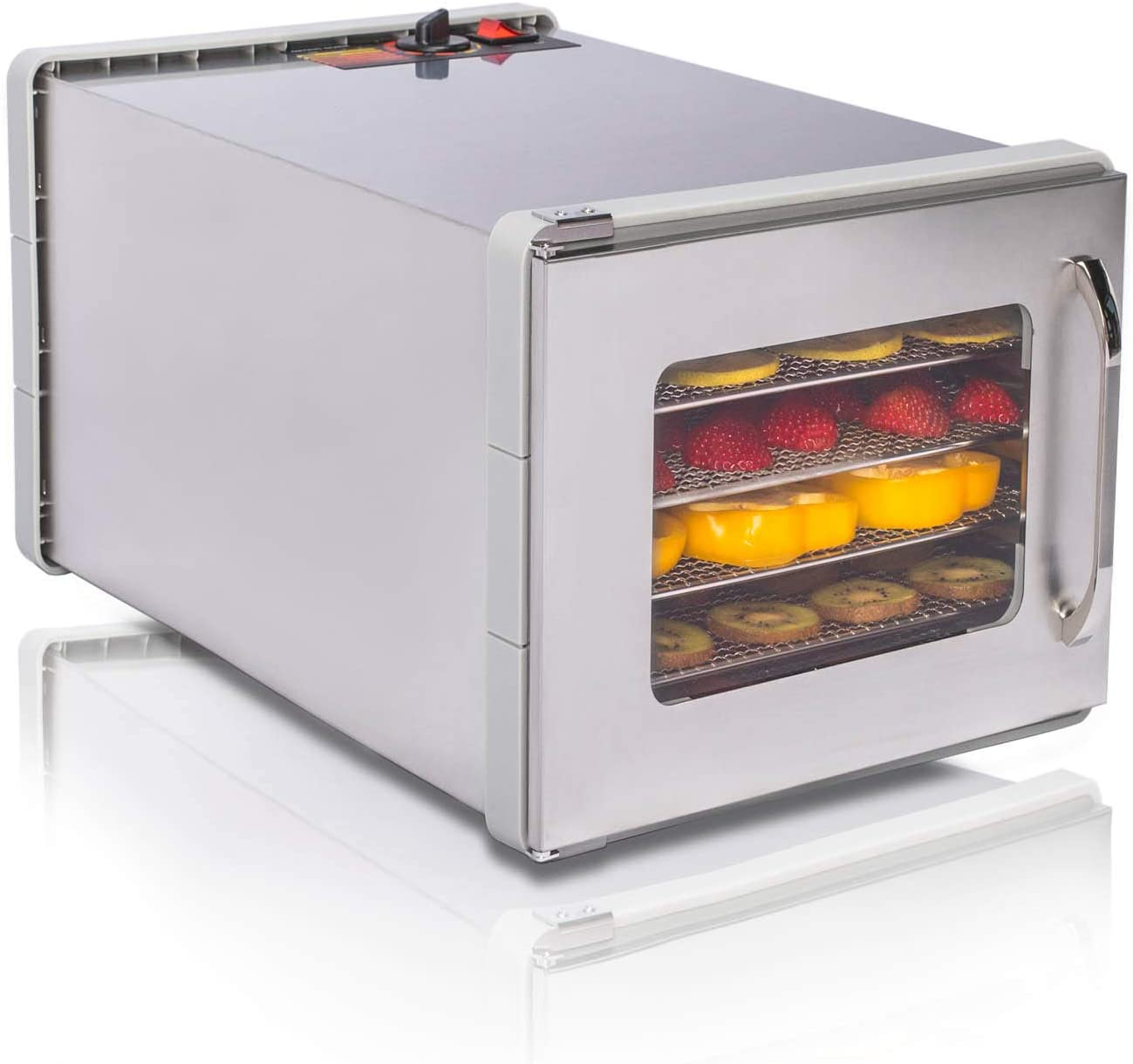 JAYETEC Food Dehydrators,Commercial Stainless Steel Dehydrator Raw , 6-Trays staniless steel trays with Adjustable Thermostat 95-155°F, fruit, vegetables, meat, flowers, herbs, beef dryer,transparent front door ,including 2 pcs non-stick sheets