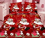 Kids Bedding Sets 4 Piece 3D Printed Cartoon Merry Christmas Santa Claus Christmas Gift Reversible Comforter Set 1 Flat Sheet 1 Duvet Cover and 2 Pillow Cases (Full Size)