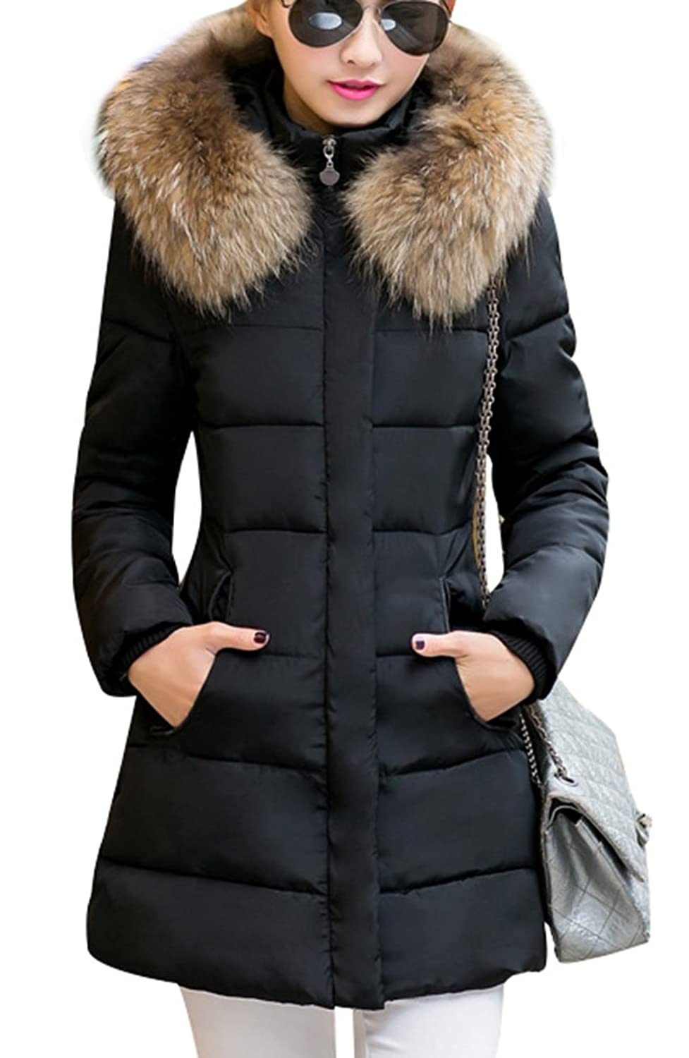 Yasong Women's Girl's Faux Fur Hooded Quilted Padded Parka Jacket Winter  Overcoat Puffer Coat Black UK 6: Amazon.co.uk: Clothing