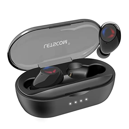 Letscom True Wireless Earbuds, Bluetooth 5.0 Headphones with Microphone, Wireless Running Sports Workout Earphones 3D Stereo Sound, IPX5 Sweatproof, 27 Hours Playtime with Charging Case