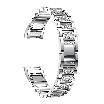 For Fitbit Charge 2 Straps for Women, Aottom Fitbit Charge 2 Strap  Stainless Steel Rhinestone Glitter Replacement Band Wrist Strap Metal  Bracelet for