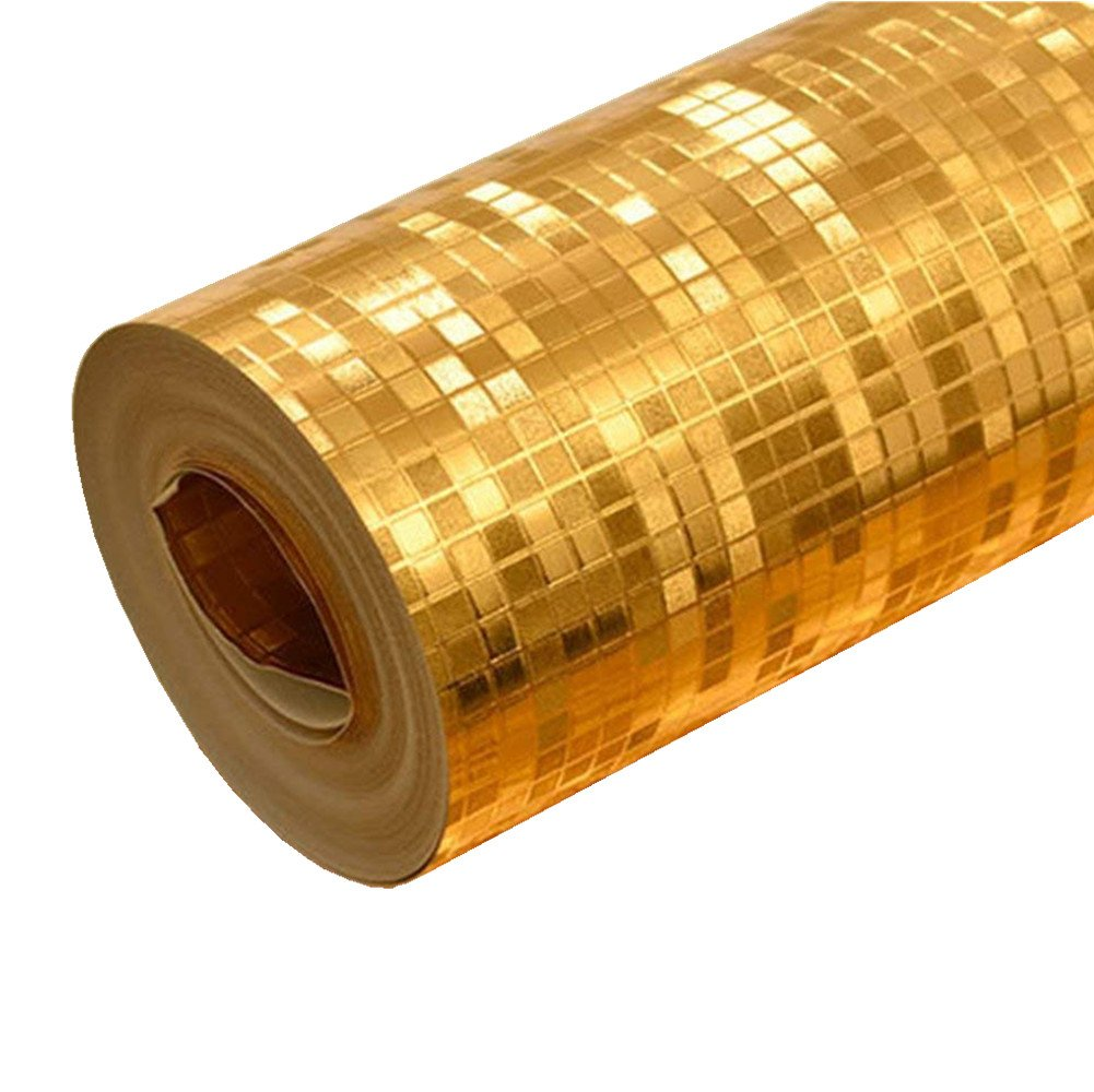 Teemall Luxury Gold Foil Mosaic Background Flicker Wall Paper Modern Roll/Hotel Ceiling/Decorative Wallpaper Roll Pale Gold Colour 20.8''x78.7''