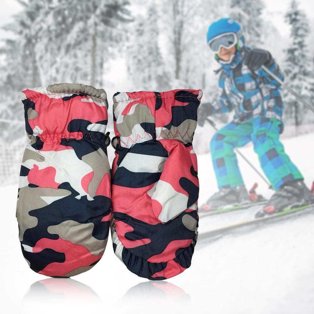 CUSHY Children Ski Gloves Winter Kids Girls Windproof Non-slip Warm Mittens F