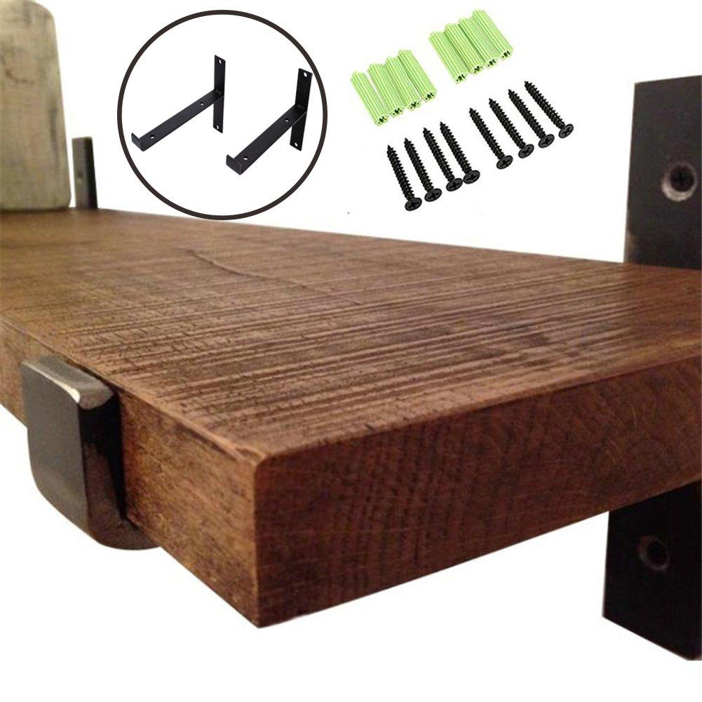 AddGrace 2 Pack - Lip Brackets Black Iron Floating Shelf Industrial Decorative Shelf Wall Brackets (Black) 8''